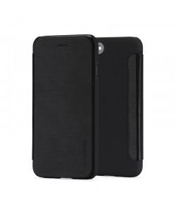 Meleovo Smart Flip Black - iPhone 8 Plus Husa Flip (spate mat perlat si fata cu aspect metalic)