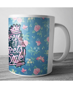 Cana personalizata - Queen of the Streets - Floral Blue