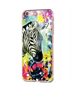 Zebra Splash - iPhone 6 Carcasa Transparenta Silicon