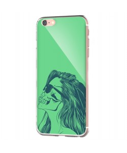 Skull Girl - iPhone 6 Carcasa Transparenta Silicon