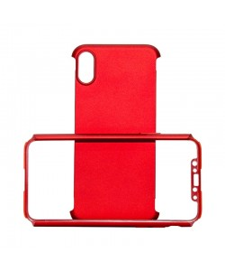Just Must Defense 360 Red - iPhone X (3 piese: protectie spate, protectie fata, folie Flexi-Glass)