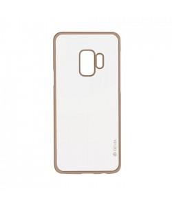 Glitter Soft Champagne Gold - Devia Samsung Galaxy S9 Carcasa Silicon (margini electroplacate)