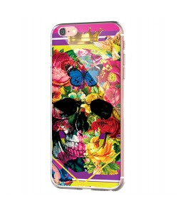 Floral Explosion Skull - iPhone 6 Carcasa Transparenta Silicon