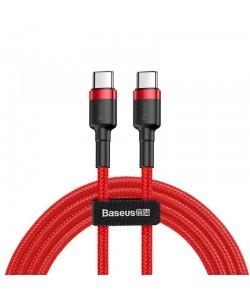 Baseus Cafule Series Red - Cablu Type-C la Type-C (1m, 3A max, suporta PD2.0, 480Mbps, impletitura textila)