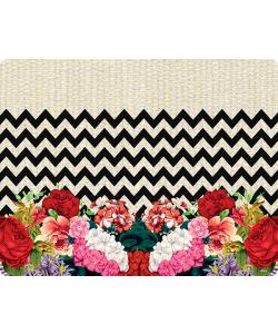 Floral Contrast - Samsung Galaxy S6  Husa Book Neagra Piele Eco