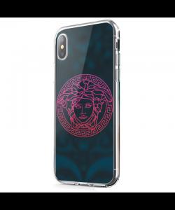 Red Versace - iPhone X Carcasa Transparenta Silicon