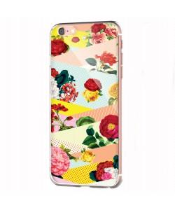 Flowers, Stripes & Dots - iPhone 6 Carcasa Transparenta Silicon