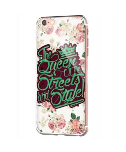 Queen of the Streets - Floral White - iPhone 6 Carcasa Transparenta Silicon