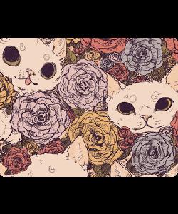 Flower Cats - iPhone 6 Husa Book Alba Piele Eco