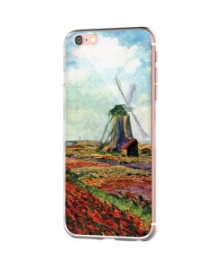Claude Monet - Fields of Tulip With The Rijnsburg Windmill - iPhone 6 Carcasa Transparenta Silicon