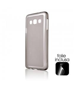 Lemontti - Samsung Galaxy A3 Carcasa Silicon Negru (folie inclusa)