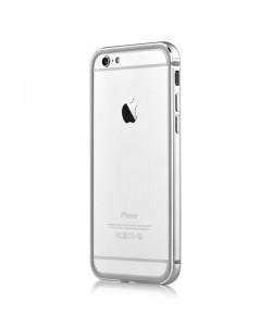 Devia Mighty Silver - iPhone 6/6S Bumper (Aluminiu + Silicon, protectie 360°)
