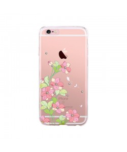 Bluebell Pink - Devia iPhone 6/6S Carcasa Silicon (motiv floral cu cristale)