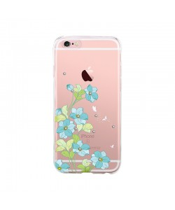 Bluebell Blue - Devia iPhone 6/6S Carcasa Silicon (motiv floral cu cristale)