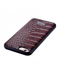 Comma Croco Brown - iPhone 6/6S Carcasa Piele Naturala (margini flexibile)
