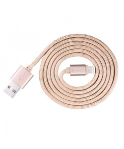 Cablu Lightning Devia Fashion MFI Rose Gold (licenta Apple, 1.2m, impletitura textila)