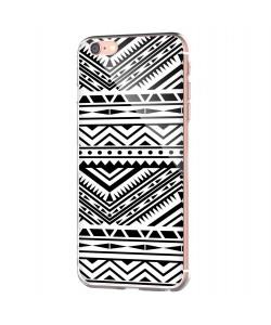 Tribal Black & White - iPhone 6 Carcasa Transparenta Silicon