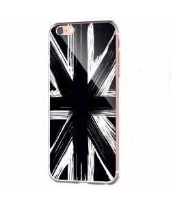 Black UK Flag - iPhone 6 Carcasa Transparenta Silicon
