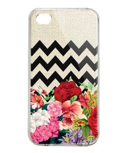 Floral Contrast - iPhone 4/4S Carcasa Alba/Transparenta Plastic
