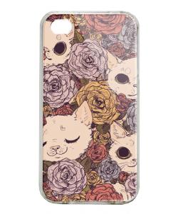 Flower Cats - iPhone 4/4S Carcasa Alba/Transparenta Plastic