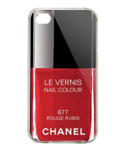 Chanel Rouge Rubis Nail Polish - iPhone 4/4S Carcasa Alba/Transparenta Plastic