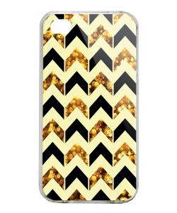 Black & Gold - iPhone 4/4S Carcasa Alba/Transparenta Plastic
