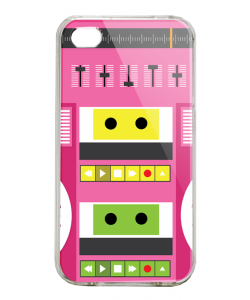 Boombox - iPhone 4/4S Carcasa Alba/Transparenta Plastic