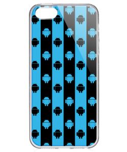 Android Stripes - iPhone 5/5S/SE Carcasa Transparenta Silicon