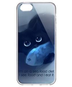 Sea Food - iPhone 5/5S/SE Carcasa Transparenta Silicon