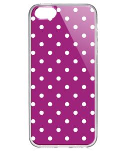 Purple White Dots - iPhone 5/5S Carcasa Transparenta Silicon