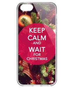 Keep Calm and Wait for Christmas - iPhone 5/5S Carcasa Transparenta Silicon