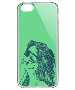 Skull Girl - iPhone 5/5S Carcasa Transparenta Plastic