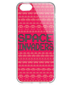 Space Invaders Red - iPhone 5/5S/SE Carcasa Transparenta Silicon