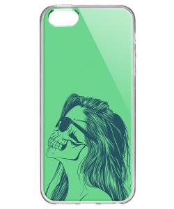 Skull Girl - iPhone 5/5S/SE Carcasa Transparenta Silicon