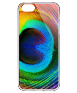 Peacock Feather - iPhone 5/5S/SE Carcasa Transparenta Silicon