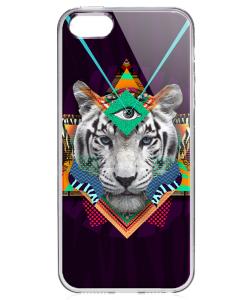 Eyes of the Tiger - iPhone 5/5S/SE Carcasa Transparenta Silicon