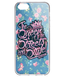 Queen of the Streets - Floral Blue - iPhone 5/5S/SE Carcasa Transparenta Silicon