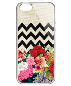 Floral Contrast - iPhone 5/5S/SE Carcasa Transparenta Silicon