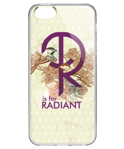 R is for Radiant - iPhone 5/5S/SE Carcasa Transparenta Silicon