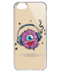 Fluffy Headphones - iPhone 5/5S/SE Carcasa Transparenta Silicon
