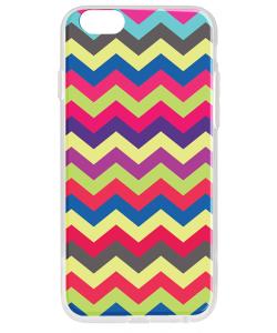 Colorful Zig Zag - iPhone 6 Carcasa Transparenta Silicon