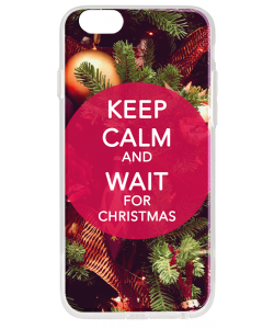 Keep Calm and Wait for Christmas - iPhone 6 Carcasa Transparenta Silicon