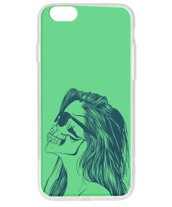 Skull Girl - iPhone 6 Plus Carcasa Transparenta Silicon