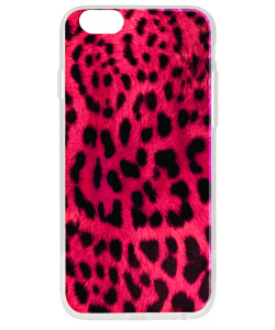 Pink Animal Print - iPhone 6 Plus Carcasa Transparenta Silicon
