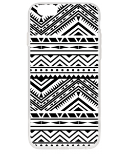 Tribal Black & White - iPhone 6 Plus Carcasa Transparenta Silicon