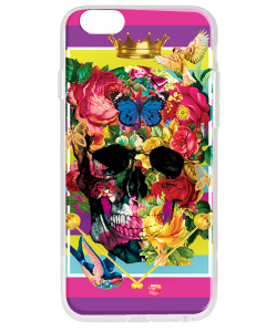 Floral Explosion Skull - iPhone 6 Plus Carcasa Transparenta Silicon