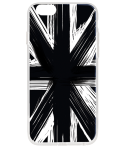 Black UK Flag - iPhone 6 Plus Carcasa Transparenta Silicon