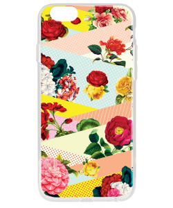 Flowers, Stripes & Dots - iPhone 6 Plus Carcasa Transparenta Silicon