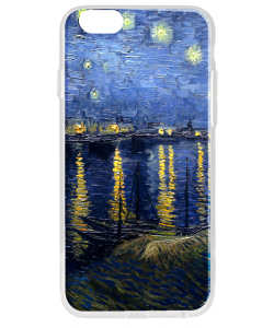 Van Gogh - Starryrhone - iPhone 6 Plus Carcasa Transparenta Silicon