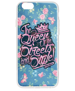 Queen of the Streets - Floral Blue - iPhone 6 Carcasa Transparenta Silicon